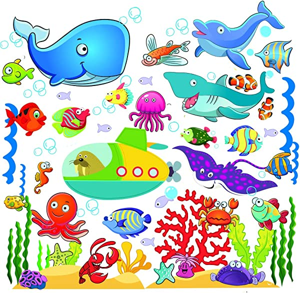 Fish Wall Stickers For Kids Under The Sea Wall Decals For Toddlers Bathroom Bedroom Window Bathtub Baby S Nursery And Children S Classroom Removable Peel And Stick Ocean Decor That Clings