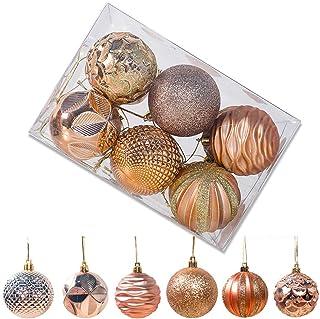 Starvido Bolas de Navidad Decoración De Bolas De Brillo De Árbol De Navidad 6cm 12/Paquete Bolas De Navidad De Plástico Colgante De Árbol De Navidad