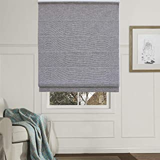 Artdix Roman Shades Blinds Window Shades - Grey 20 W x 48L Inches (1 Piece) Blackout Faux Linen Solid Thermal Fabric Custom Made Roman Shades for Windows, Doors, Home, Kitchen, Living Room