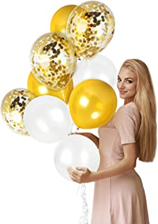 Metallic White and Gold Balloon Gold Confetti Balloons Pack of 44 Party Kit for Golden Baby Shower Birthday Wedding Bridal Shower Decorations