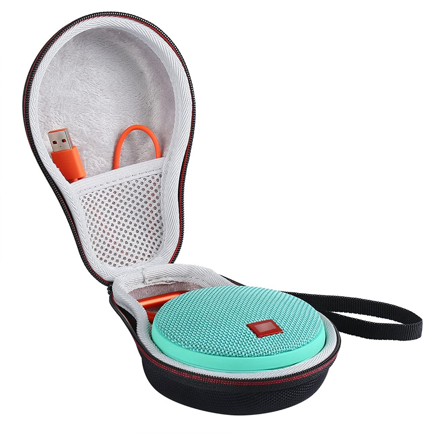 LuckyNV Carry Travel Protective Case For JBL Clip 2 Clip 3 Bluetooth Speaker Extra Space For Plug & Cables Black