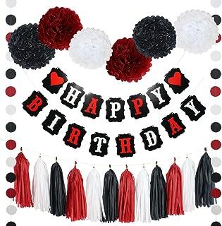 21 Piece Heart Happy Birthday Banner POM POMS Tassels and Garland