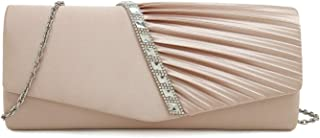 Charming Tailor Evening Handbag Crystal Embellished and Pleated Satin Clutch