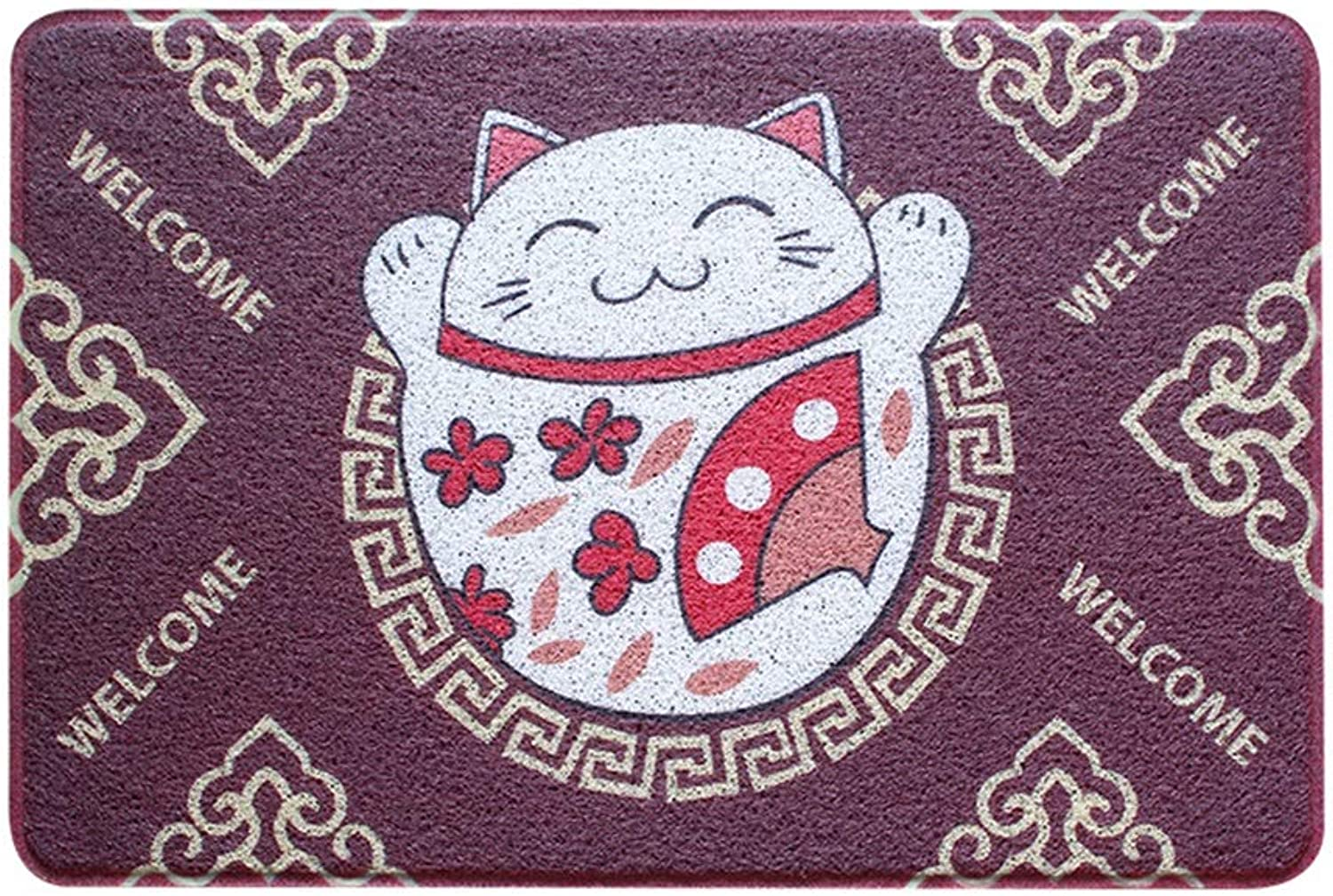 Door Mat, Lucky Cat, Household Pad, Wire Ring, Dust, Slip, Wear-Resistant Plastic Kitchen Oil-Proof Carpet (color   E, Size   120  150)