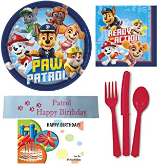 Paw Patrol Party Supplies Bundle Including Plates, Napkins, Utensils, and Printed Happy Birthday Ribbon