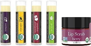 Lip Balm and Scrub Bundle - 4 Pack of Exotic Flavored Lip Moisturizer with Berry Exfoliating Sugar Scrub, B...