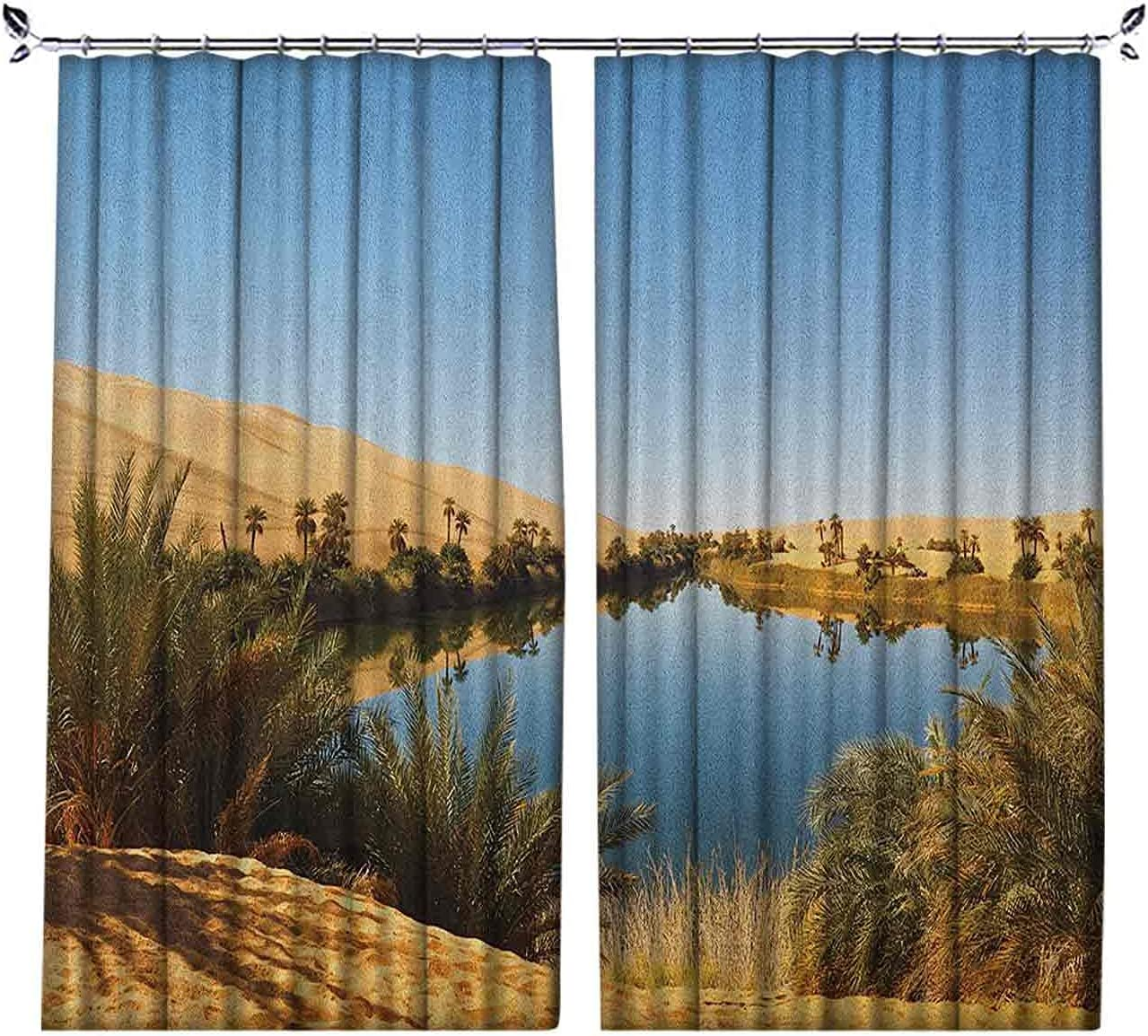 90% cortinas opacas del desierto, Idyllic Oasis Awbari Sand Sea Sahara Libia, Estanque árido, cortinas plisadas para dormitorio, sala de estar, W52 x L84 pulgadas, azul pálido, verde arena, marrón
