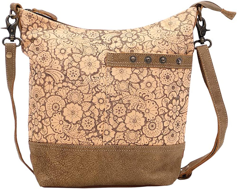 Very popular famous Myra Bag Apricot Upcycled Shoulder Leather S-1449 Canvas