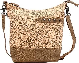 Myra Bag Apricot Upcycled Canvas & Leather Shoulder Bag S-1449
