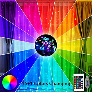 16 Color Changing Rainbow Curtain Lights Backdrop Window Lights, 200 LED USB Remote Control Colorful Icicle Fairy Lights String Lights for Weddings Party, Christmas Decor-9.8ft x 9.8ft(Multiple Color)