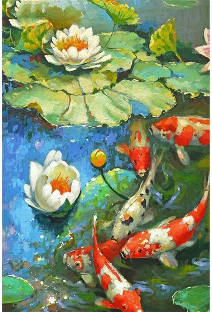 Paint-by-Number Kits for Adults - Koi Fish Water Lily - Includes Brushes, Paints and Numbered Canvas - 16x20 Inch - Great for kids and adults,without Frame