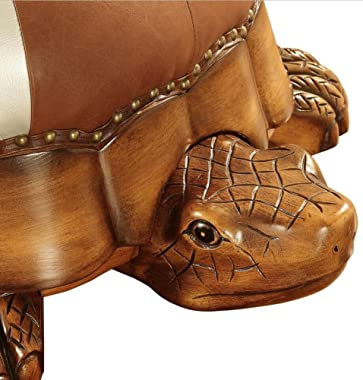 Wood Ottoman Footstool,Leather Upholstered Vintage Turtle Footrest Stool with Wheels-Brown