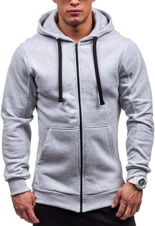 XXBR Hoodies for Mens, Fall Zipper Casual Long Sleeve Hipster Drawstring Slim Fit Hooded Sweatshirts Lightweight Jacket