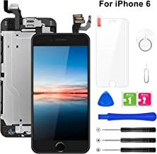 """Pre-Assembled Screen Replacement for iPhone 6 4.7"""", LCD Display Touch Digitizer Replacement with Home Button, Front Camera, Proximity Sensor, Ear Speaker and Repair Tool Kits (Black)"""
