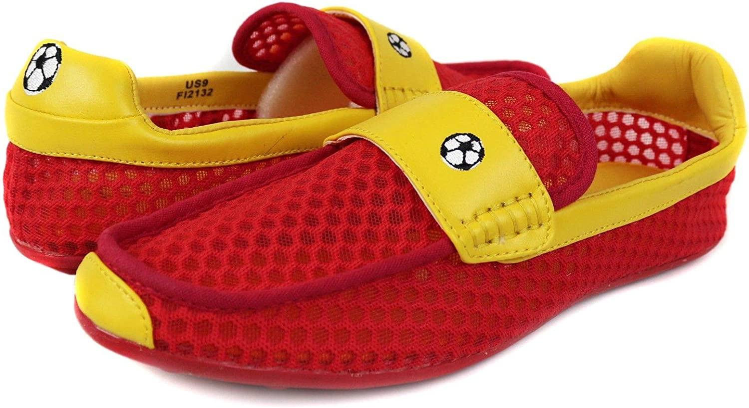 Fiesso Men's Soccer Football World Cup Spain 2018 Mesh Slip On Moccasins Loafers Shoes (Red,Yellow)