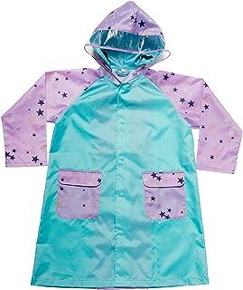 マック(Makku) ランドコート ピンク星柄×ブルー 140cm レインコート キッズ ランドセル対応 蓄光 透明フード フード固定ベルト付き 収納袋付き YZ-100