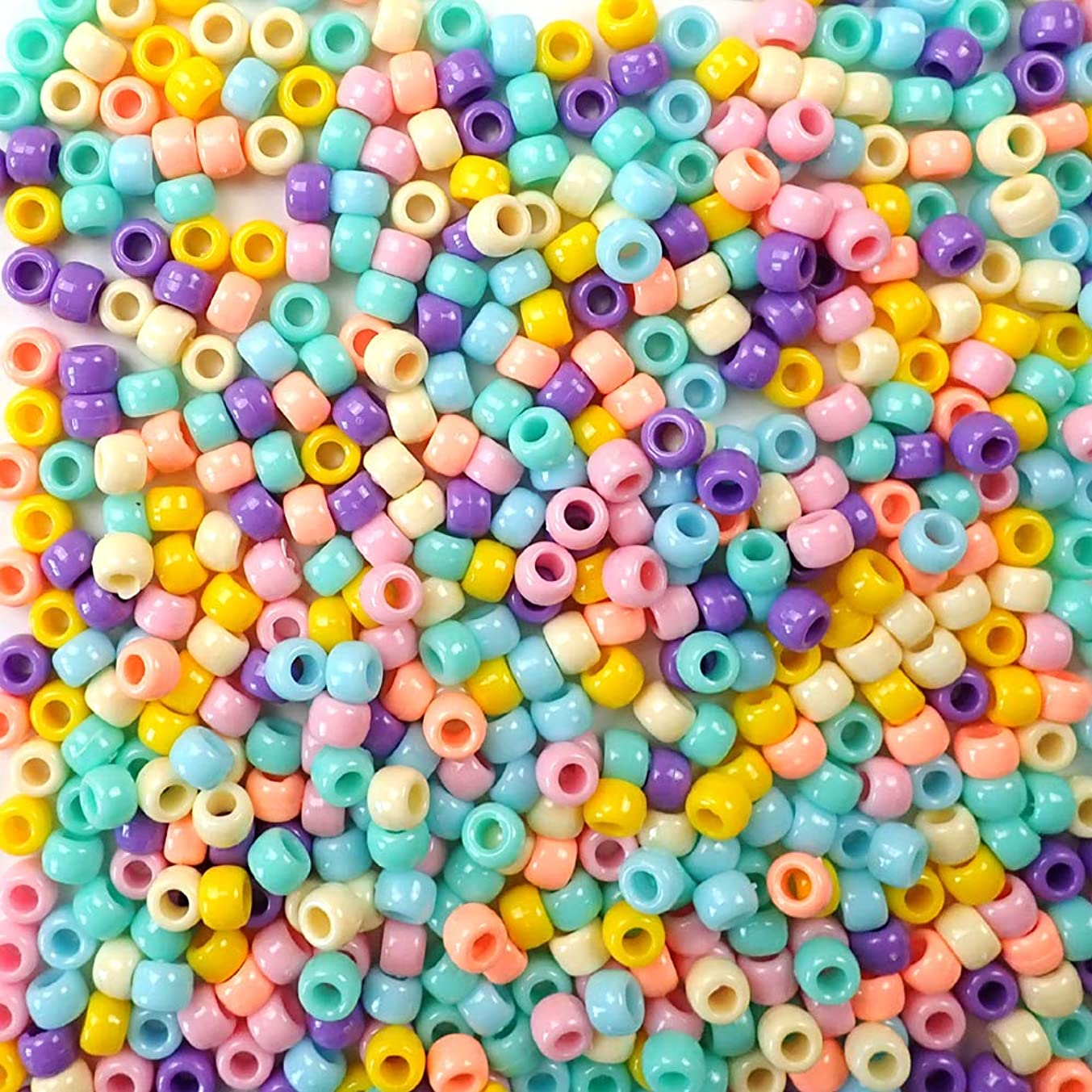 Pretty Pastels Opaque Multicolor Mix Plastic Craft Pony Beads, 6 x 9mm, 500 Beads