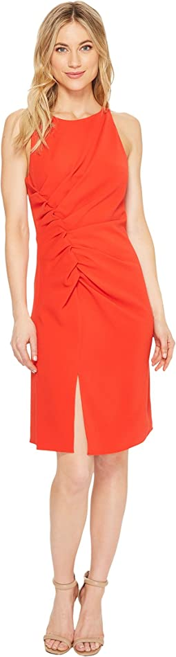 Halston Heritage - Sleeveless Boatneck Crepe Dress w/ Gathers