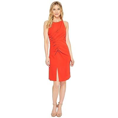 Halston Heritage Sleeveless Boatneck Crepe Dress w/ Gathers (Lipstick) Women