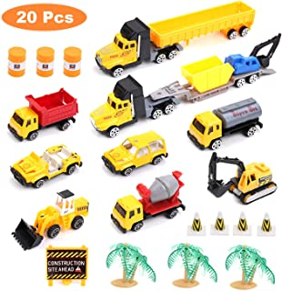 NEOWOO Construction Toy Set, Kids Engineering Playset Mini Vehicles Car Cement Truck Excavator Bulldozer for 3 Year Old & UP Toddlers, Boys,Girls,Children