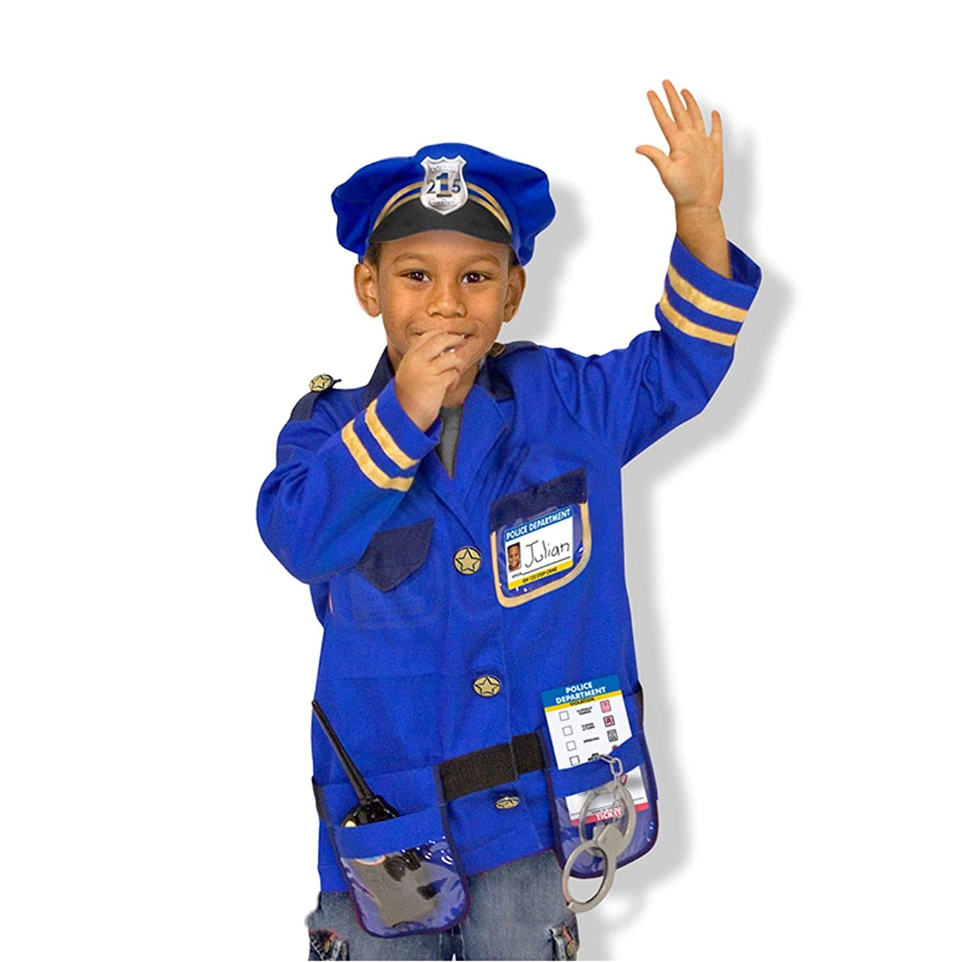 Melissa & Doug Police Officer Role-Play Costume Set (Pretend Play, Materials, Machine Washable, 17.5