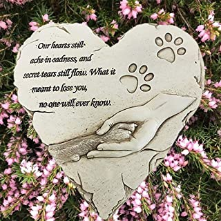BJSM Pet Memorial Stone, Heart-Shaped Personalized pet Grave Markers with Sympathy Poem and Paw in Hand Design- Loss of Dog Gifts(White)