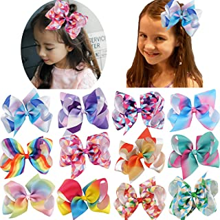 12Pack Baby Girls Large Big Grosgrain Ribbon Bows with Alligator Hair Clips Rainbow Hair Bows Hair Accessories for Girls Toddlers Kids Teens