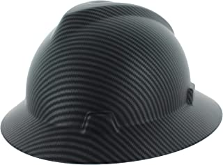 Safety Hard Hat Full Brim 6 Point Ratcheting System | Meets ANSI Z89.1 | Personal Protective Equipment Carbon Fiber Design [Matte Black]