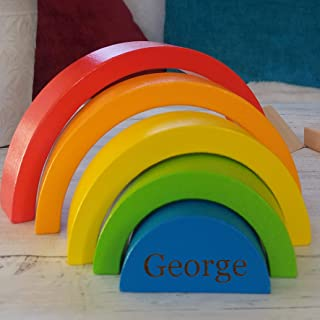 Personalised Rainbow Wooden Toy-Personalised Baby Christening Gift-1st Birthday Wooden Toys-Toddler Puzzle Birthday Gift