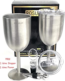Stainless Steel Wine Glasses With Lids (Set Of 2), Premium Grade 18/8 Double Wall Vacuum Insulated Unbreakable BPA-Free Leak Resistant 12 Oz. Glass With Free Wine Aerator Pourer And Stopper By RosuLab