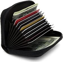 Zhoma RFID Blocking Genuine Leather Credit Card Case Holder Security Travel Wallet