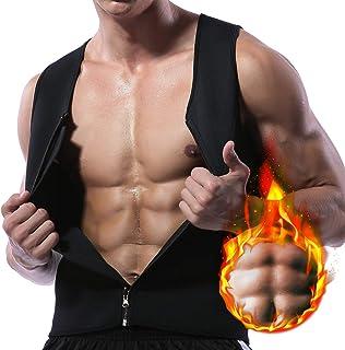 TaxyFan Weightloss Sauna Suit Hot Neoprene Corset Men Sweat Waist Trainer Vest and Zipper Slimming Shirt Tank top Workout Body Shaper Workout Shirt fit