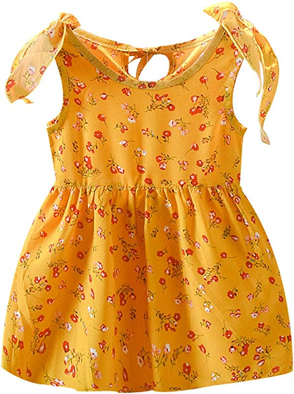 Summer New Kids Girls Sleeveless Ribbons Bow Floral Dress Princess Dresses Z5 Yellow 3T United Ates