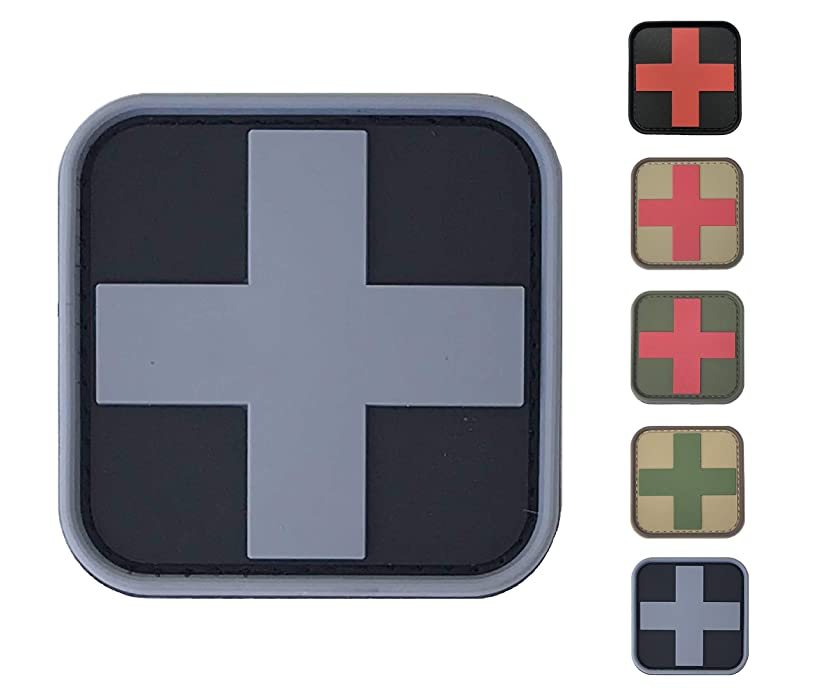 Medic Red Cross First Aid Morale Patch - Perfect for IFAK Rip Away Pouch, EMT, EMS, Trauma, Medical, Paramedic, First Response Rescue Kit, Tactical, Combat, Emergency, Blow Out, EDC Bag (SWAT-Grey)