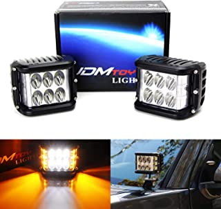 iJDMTOY (2) White LED Pod Lamps w/ Amber Side Strobe Lights Compatible With Truck SUV Jeep Off-Road ATV 4x4 etc. Powered by (6) 6000K White CREE XB-D LED Diodes & (6) 2500K Yellow LED Strobe Flashers