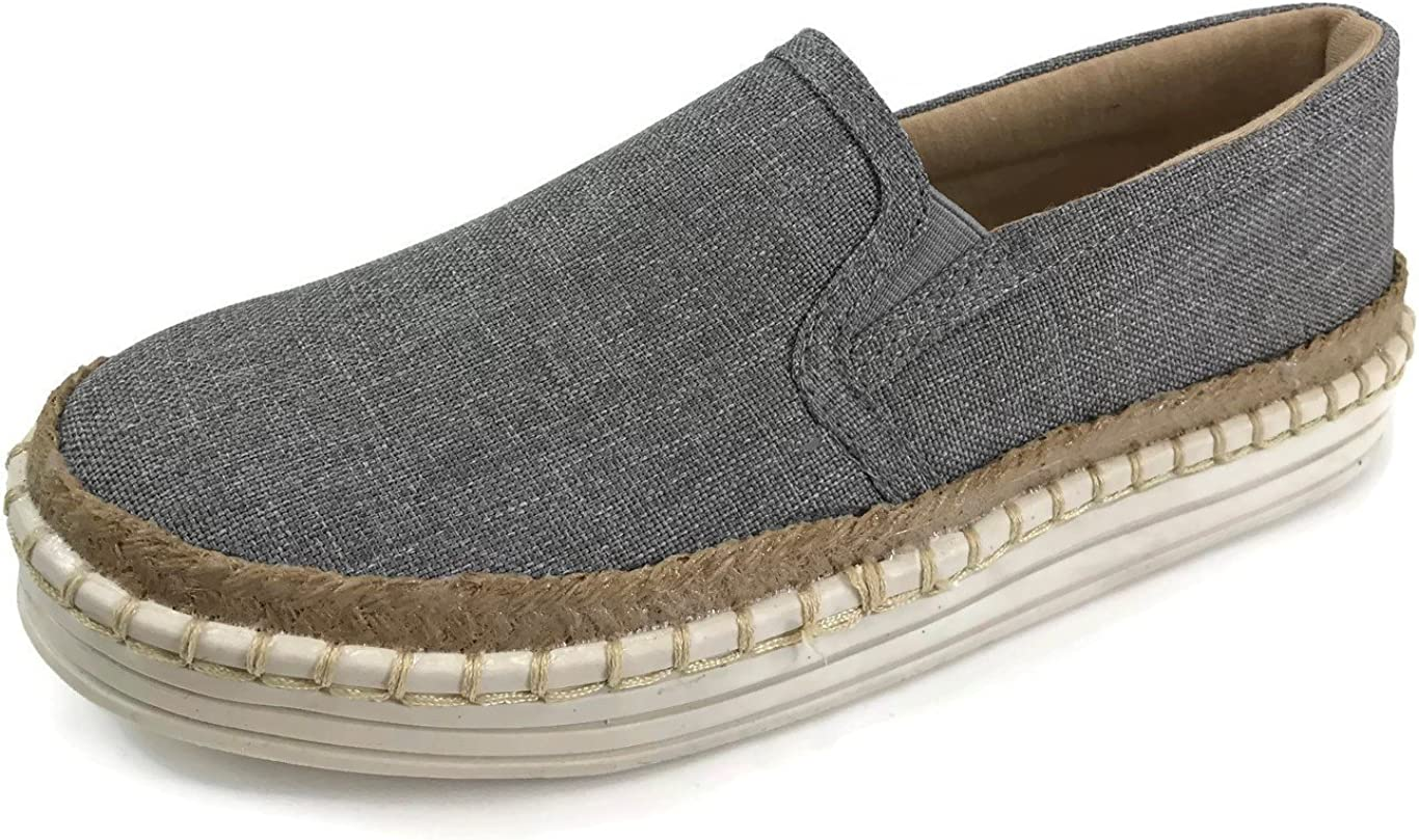 Fashion Slip On Sneakers with Jute Trim and Whip Stitch Espadrille