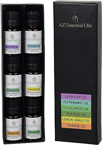 Aromatherapy Oils Set - USDA Certified Organic Essential Oils Kit: Lavender, Peppermint, Eucalyptus, Tea Tree, Lemong...