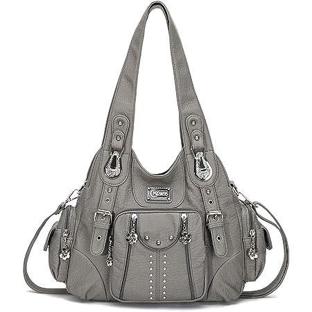 KL928 Damen Tasche Handtasche Schultertasche Umhängetaschen weiches PU leder Damenhandtasche Henkeltaschen Lederhandtasche Hobo taschen für Damen (Grau)