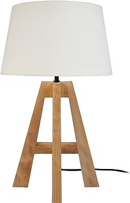 Tosel 65177 Lampe à Poser 1 Lumière, Bois, E27, 40 W, Blanc, 30 x 54 cm