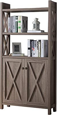 Benjara Benzara Wooden Cabinet with 'X' Shaped Cutout Side Panel, Brown,