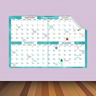 $34 » Everase Re-Stic Dry Erase Self-Adhesive Peel & Stick 4 Month Quarterly Planner 2 x 3 ft. (24 x 36 in.) | Wall Calendar FRE...