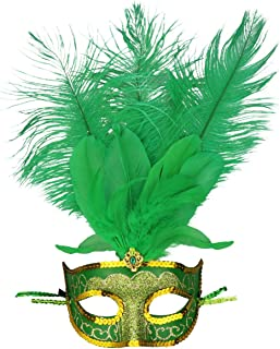 Masquerade Mask Halloween Ball Mask Christmas Costume Party Mask with Feather