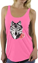 Awkward Styles Women's Wild Wolf with Roses Racerback Tank Tops