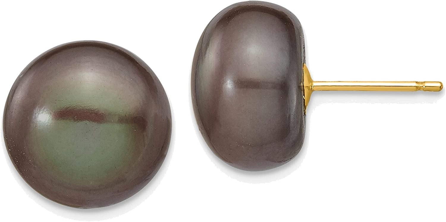 11-12mm Black Button Freshwater Cultured Pearl Stud Post Earrings in 14K Yellow Gold