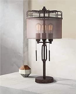 Lock Arbor Industrial Table Lamp Rustic Bronze Metal Cage Sheer Drum Shade Vintage Edison Bulbs for Living Room Bedroom - Franklin Iron Works