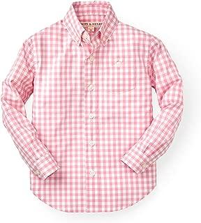Hope & Henry Boys' Gingham Woven Poplin Button Down Shirt Made Organic Cotton