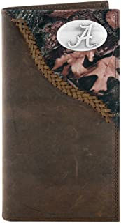 NCAA Alabama Crimson Tide Camouflage Leather Roper Concho Wallet, One Size