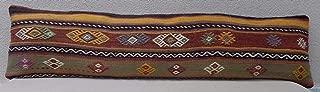 Turkish Pillows Decorative, Modern Tribal Design Unique Lumbar Flaming Kilim Cushion Floor, Orange Green Color Bohemian Handmade Hippie Bedding Kilim Pillow Cover 12'' x 48'' (30 x 120 Cm)