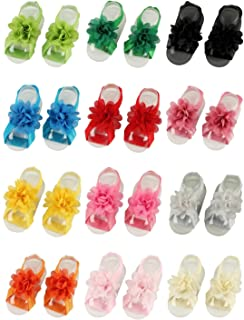 Qandsweet Baby and Girl's Barefoots Sandals Chiffon Foot Flower Feet Accessories (Set of 12)