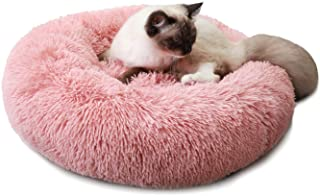 Luciphia Round Dog Cat Bed Donut Cuddler, Faux Fur Plush Pet Cushion for Large Medium Small Dogs, Self-Warming and Cozy for Improved Sleep
